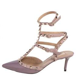 Valentino Mauve Patent and Leather Rockstud Pointed Toe Sandals Size 38.5