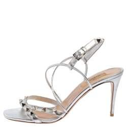 Valentino Metallic Silver Leather Rockstud Strappy Sandals Size 37.5