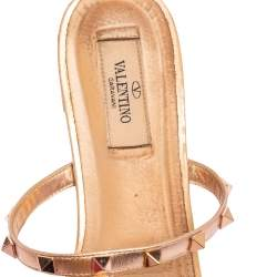 Valentino Metallic Rose Gold Leather Rockstud Caged Flat Slides Size 39.5