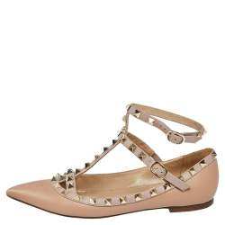 Valentino Beige Leather Rockstud Ankle Strap Ballet Flats Size 36