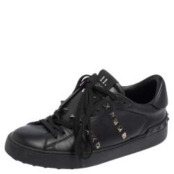 Valentino Black Leather Rockstud Untitled Low Top Sneakers Size 37