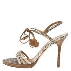 Valentino Beige Python Ankle Strap Sandals Size 39.5