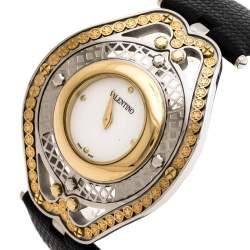 Valentino White Two Tone Stainless Steel Classic V58 Women's Wristwatch 42 mm