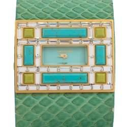 Valentino Aqua Green Gold Tone Stainless Steel Swarovski Crystal Python Leather Women's Wristwatch 39 mm