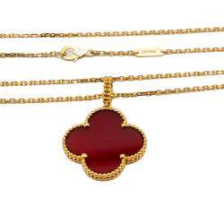 Van Cleef & Arpels Magic Alhambra Yellow Gold Red Carnelian Long Necklace