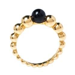 Van Cleef & Arpels Perlee Couleurs Onyx 18K Yellow Gold Variation Ring 52