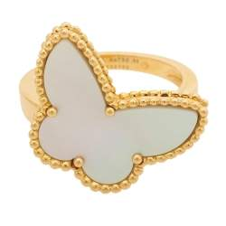 Van Cleef & Arpels Lucky Alhambra Butterfly Motif Mother of Pearl 18K Yellow Gold Ring Size 55