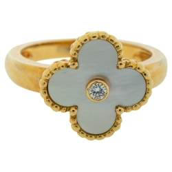 Van Cleef & Arpels Vintage Alhambra Mother of Pearl Diamond 18K Yellow Gold Ring Size 58