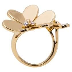 Van Cleef & Arpels Frivole Between the Finger Diamond 18K Yellow Gold Ring Size 50