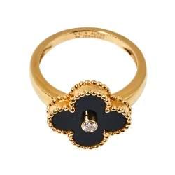 Van Cleef & Arpels Vintage Alhambra Diamond Onyx 18K Yellow Gold Ring Size 54
