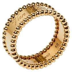 Van Cleef & Arpels Perlee Signature 18K Yellow Gold Ring Size 52