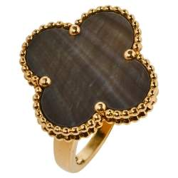 Van Cleef & Arpels Magic Alhambra Mother of Pearl 18K Yellow Gold Ring Size 53