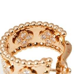 Van Cleef & Arpels Perlée Clover Diamond 18K Rose Gold Hoop Earrings