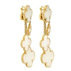 Van Cleef & Arpels Magic Alhambra 4 Motifs Mother of Pearl 18K Yellow Gold Earrings