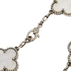 Van Cleef & Arpels Vintage Alhambra 5 Motifs Mother of Pearl 18K White Gold Bracelet