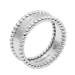 Van Cleef & Arpels Perlée Signature 18K White Gold Band Ring Size 52