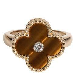 Van Cleef & Arpels Alhambra Tiger Eye 18K Yellow Gold Diamond Ring Size EU 51