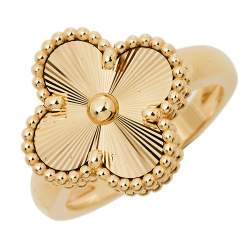 Van Cleef & Arpels Vintage Alhambra 18k Yellow Gold Ring Size 51