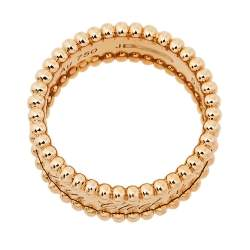 Van Cleef & Arpels Perlée Signature 18K Rose Gold Band Ring Size 53