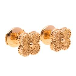 Van Cleef & Arpels Sweet Alhambra 18K Rose Gold Stud Earrings