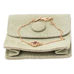 Van Cleef and Arpels Sweet Alhambra Carnelian 18K Rose Gold Bracelet