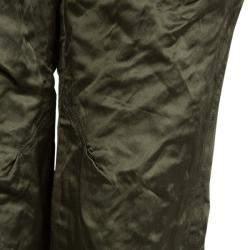 Vera Wang Olive Green Slipper Satin Tapered Trousers M