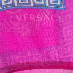Versace Pink Baroque Print Silk Scarf
