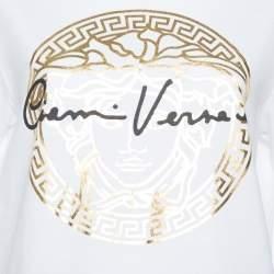 Versace White Medusa Signature Printed Cotton Crewneck T-Shirt M