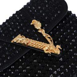 Versace Black Studded Leather/Suede Embellished Virtus Crossbody Bag