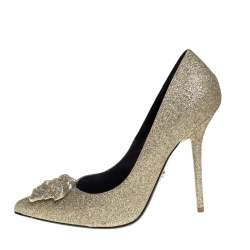 Versace Gold Glitter Fabric Medusa Pointed Toe Pumps Size 40