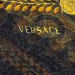 Versace Black Abstract Printed Silk Scarf