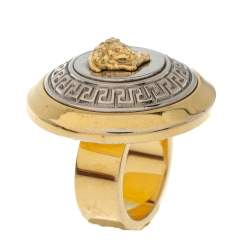 Versace Two Tone Vanitas Medusa Ring Size EU 53