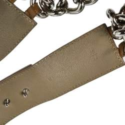 Versace Beige Patent Leather and Chain Logo Plaque Belt 85CM