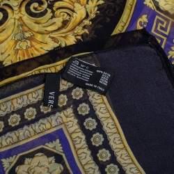 Versace Multicolor Barocco Print Silk Scarf