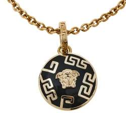 Versace Black Medusa Charm Gold Tone Chain Bracelet