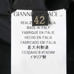 Versace Black Linen Blend Hook Detail Long Sleeve Open Front Jacket M