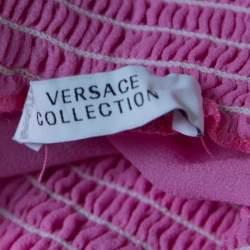 Versace Collection Pink Sheer Silk Smocked Off Shoulder Long Sleeve Blouse L