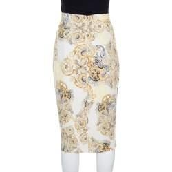 Versace Collection Cream Printed Pencil Midi Skirt M