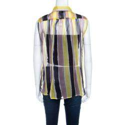 Versace Collection Multicolor Striped Sheer Silk Pearl Button Detail Sleeveless Shirt M