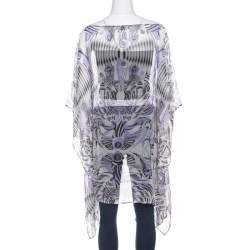 Versace White and Purple Fish Print Sheer Silk Kaftan Tunic Top M