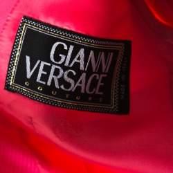 Gianni Versace Pink Silk Vintage Long Jacket & Skirt Suit M