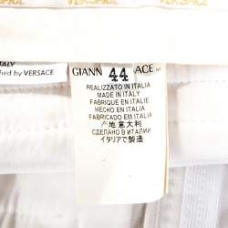 Versace Vintage Off White Cotton Straight Fit Trousers M