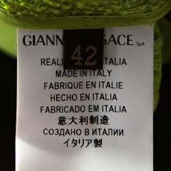 Versace Metallic Green Interwoven Cotton Blend Pencil Skirt M