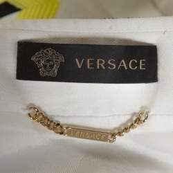 Versace White Striped Jacquard Cotton Zip Front Jacket S