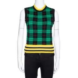 Versace Green Wool Tartan Pattern Sleeveless Sweater Vest S