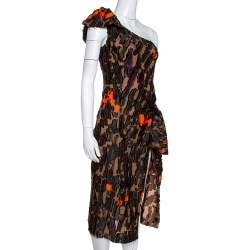 Versace Brown Camouflage Fil Coupé One-Shoulder Dress S