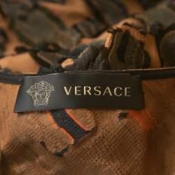 Versace Brown Camouflage Fil Coupé One-Shoulder Dress S