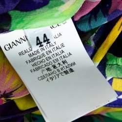 Versace Multicolor Floral Print Silk Asymmetric Sleeve Blouse M