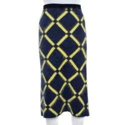 Versace Navy Blue Argyle Wool Knit Pencil Skirt M