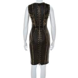 Versace Black Leather Metal Embellished Sheath Dress S
